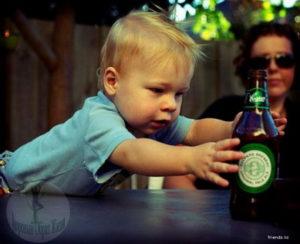 Распитие алкоголя при ребенке