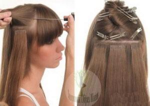 Ленточные пряди выращивания волос