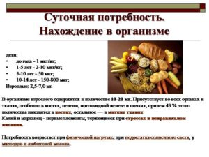 Суточная норма потребления Mn для здорового человека